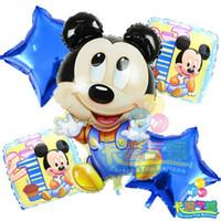Wholesale Plastic Baloon - Wholesale-HOT globos 5pcs lot birthday balloons minnie mickey mouse foil balloon air balloons helium baloon party decoration baloes balao