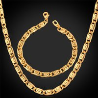 Wholesale Men Gold Necklace Bracelet Sets - New Men Jewelry Chunky Link Chain Necklace Bracelet Set 18K Real Gold Plated Fashion Accessories Gift For Men