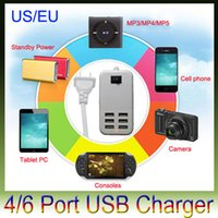 Wholesale Android Tablets Usb Ports - Multi-Function EU US AC Adapter 5V 6A 6 Port USB Charger for iPhone 6 5S Samsung S5  All Smart Android Phone Tablet PS4