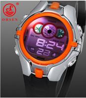 Wholesale Ohsen Led Digital Watches - OHSEN New Popular The orange Digital Boys Kids Sport Watch LED Alarm Light 3ATM Waterproof 0739-3