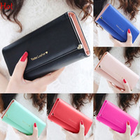 Wholesale Ladies Long Tops Designs - 2015 Design New Fashion Women Wallets Famous Luxury Top Quality Pu Leather Purse Letters Printed Clutch Bag Long Black Green Wallet SV015155