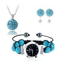 Wholesale Shamballa Watch Black - New Shamballa Watch Set Bracelet Watch (85Pcs)Crystals Necklace Pendant (85Pcs)Crystals Earrings Mix Colors Options JSWSTG