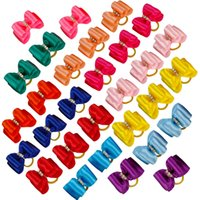Wholesale Wholesale Dog Bows Solid Colors - 100pcs lot Wholesale Handemade Rhinestone Candy Colors Pet Cat Dog Hair Bows Grooming Accessories Puppy Rubber Band