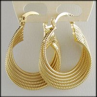 "Wholesale Solid Yellow Filled Hoop - Wholesale- MIN ORDER 10$  CAN MIX WITH OTHER  NEW BEST TWIST - YELLOW GOLD SOLID GP OVERLAY FILLED BRASS HOOP 1.3"" EARRING GREAT GIFT"