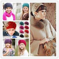 ingrosso fiori di lana-20 colori maglia lana Lana uncinetto fascia per capelli caldo inverno camelia Fiore donna bambina fasce copricapo moda Europa America