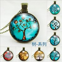 Wholesale Easter Cabochons - Bronze Wish Tree Photo Glass cabochons Pendant Necklace Locket Chains Jewelry Christmas Gift Sweater time necklace NE171