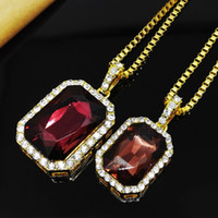 Wholesale crystal zodiac - Vintage Mens Hip Hop Chain Fashion Jewelry Big Gemstone Rhinestone Pendant Necklaces Gold Plated Hiphop Zodiac Jewelry Men Chain Necklace