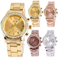 Wholesale Analog Set - Watch Womens Watches Elegant Set Auger and Stainless Steel Metal Belt Watch Fashion Womens High-grade and Quartz Watch Fashion Watch