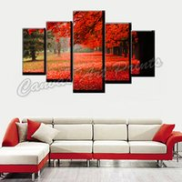 Wholesale Modern Paintings Framed - Framed Modern Wall Art Canvas Tree Painting 5 Piece Canvas Art Red Forest Home Decorative Wall Pictures for Living Room