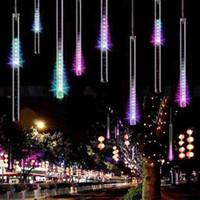Wholesale meteor shower strings resale online - 50CM Meteor Shower String Tubes Waterproof LED Christmas Lights AC V For Wedding Garden Lighting