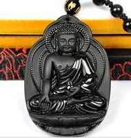 Wholesale Obsidian Zodiac Buddha - natural obsidian Shi Dari Buddha pendant necklace frosted zodiac sheep monkey this Buddha's patron saint