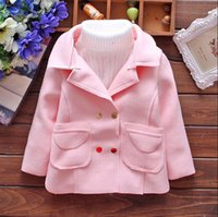 Wholesale Lolita Trench Coats - Girls candy color long sleeve trench coat the new autumn 2015 in children Han edition contracted cardigan coat BH1204