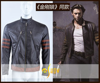 Wholesale Movie Stars - Newest The x-men wolverine leather jacket Cosplay Costumes movie star mens Motor Coat custom made For Halloween and Chirstmas Drop shipping