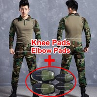 Wholesale Military Pants Knee Pads - military uniform german acu multicam camo combat shirt + emerson tactical pants with knee pads kryptek mandrake camouflage suit paintball