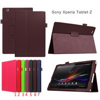 Wholesale Tablet Xperia Z Leather - HOT SALE Flip Litchi Grain Line PU Leather Stand Back Cover Case For Sony Xperia Tablet Z
