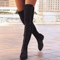 Compra Sexy Overknee-Sexy Lace Up Over Knee Boots Stivali da donna Ladies Shoes Donna Square Heel Flock Snow Botas 2017 Winter Overknee di avvio