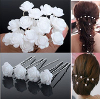 Wholesale Plastic Flower Jewellery - 100pcs White Acrylic Hair Pin Pins for Bridal Wedding Jewelry Hair Clip Jewellery Flower Hair Accessories Lots [JH03002(20)*5]