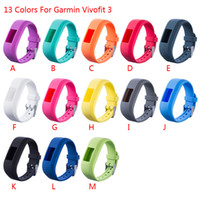 Wholesale Rubber Wristband Watches Colors - 13 colors For Garmin Vivofit 3 Vivofit3 Wristband 500PCS Replacement Smart wrist rubber Band watchband Silicone Strap