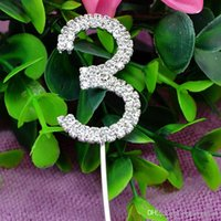 Wholesale Numeral Cake Toppers - Wholesale-Glitter Numeral Number 3 Cake Topper Two Rows Rhinestone Crystal Wedding Party Supplier wa147-3