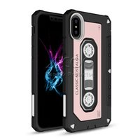 Wholesale Vintage Fit - Vintage Magnetic Tape With Dust Plug 2in1 TPU PC Cover Cassette Audio Tape Case For Iphone X 8 7 6 6s Plus Samsung Galaxy Note 8 S8 Plus