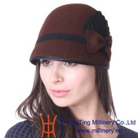 Wholesale Young Women Hats Fashion - Hot Selling June's Young Women Hat Winter Small Wool Hat Wedding Hat Brown Color Patchwork Pattern Hot Sale Fashion Lady Casual Cool Fedoras