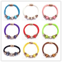 Wholesale Magnetic Clasps Bulk - New Crystal European Bead Pan Charm Bracelets Rose Gold Leather Bracelet with Magnetic Clasp Jewelry Christmas Gift in Bulk Cheap!
