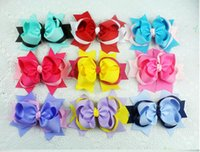 """Wholesale Two Toned Baby Hair Bows - 15% off Details about DIY baby girl toddler kids boutique two tone mixed 5"""" bows hair clips children hair accessories drop shipping 50pcs"""
