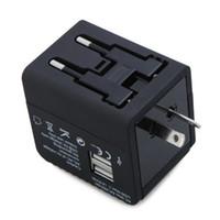 siyah uk adaptör toptan satış-CES Sıcak 2 USB Dünya Çapında Evrensel Seyahat Adaptörü Şarj ABD AB İNGILTERE AU Tak Siyah