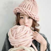 Wholesale Tie Wool Lining - Women Winter Warm Hat Handmade Knitted Coarse Lines Cable Hats Knit Cap Candy Color Beanie Crochet Caps Women Accessories
