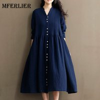 Wholesale Blue Maxi Dress Long Sleeve - Autumn Dress Loose High Waist Solid Color White Women Cotton Linen V Neck Vintage Dress Long Sleeve Maxi Dress