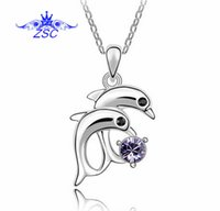 Wholesale 925 sterling silver dolphin necklaces - 2015 Silver Dolphins Necklace Pendant High quality 925 Sterling Silver Pendants Antiallergic EH100