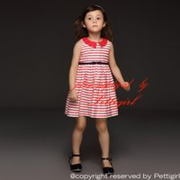 Wholesale Girls Dress Red White - Pettigirl New Summer Girl Sleeveless Dresses Sleeveless Red And White Striped Turn-Down Collar Kids Wear Baby Clothes Wholesale GD50414-12