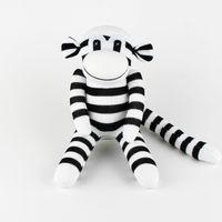 Wholesale Socks Animals Doll - handmade baby toy sock monkey black white stripe stuffed animal doll