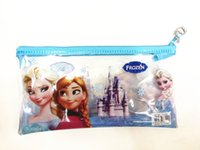 Wholesale Kids Pencil Case PVC Pencil Bag Elsa Anna Frozen Princess Pencil Case Frozen Transparent Stationery Bags Pink Blue