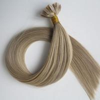 наконечник для наращивания волос оптовых-Pre скрепленное плоским наконечником человеческих волос 50г 50пряди 18 20 22 24-дюймовый M8613 кератин для волос