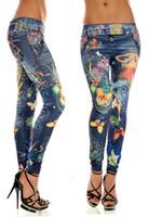 Wholesale Cheap Girls Black Leggings - Women's Girls Seamless Like Denim Jeans Graffiti Painting Printing Butterfly Cheap Leggings Crop Jeans Thin Tattoo Leggings