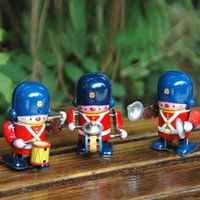 Wholesale Wind Up Toys Free Shipping - Wholesale-Collectible Vintage Style Wind Up Mechanical Toy Soldier Cymbals Player Drummer Clockwork Classic Tin Toy Free Shipping
