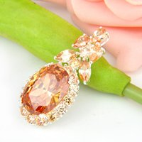 Wholesale Morganite Pendants - Luckyshine 2PCS Lot Party Holiday Jewelry Gift Fashion Morganite Gemstone 925 Silver Pendant