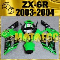 Wholesale Kawasaki 636 Plastic Kit - Five Gifts Motoegg Injection Mold Plastic Fairings Body Kit For Kawasaki Ninja 636 ZX-6R 2003 2004 ZX 6R 03 04 ZX6R Green Black K63M01