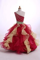 Wholesale Two Tone Ball Gowns - Organza pageant dresses For Girl One-Shoulder Ball Gown Ruffled Two Tone Color Skirt Floor-Length With Beads Sequins Girl Dress zahy997