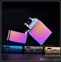Wholesale Sexy Cigarette Lighters - Double fire cross twin arc electric arc gold colorful charge usb lighters smoker sexy colorful ice Windproof Cigarette Lighter b624