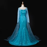 Wholesale Mardi Gras Themes - FREE SHIPPING NEW HOT elsa frozen dress adult Princess Anna Elsa costumes coaplay fancy dress cosplay Theme Costume in stock C112