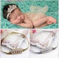 Wholesale Shine Hair Band - Baby Infant Luxury Shine diamond Crown Headbands girl Wedding Hair bands Children Hair Accessories Christmas boutique party supplies gift