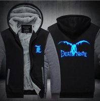Anime Death Note Hoodies menautumn 2017 vestiti invernali in pile addensano gli uomini Manicotto Thicken Felpe Pullover Pullover Luminoso Plus Size