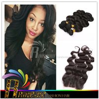 Wholesale Christmas Hair Bundles - Christmas hair malaysian virgin hair with closure 3 Bundles Brazilian body wave hair weft and closure 7a Unprocessed Cheap Human Hair Weave