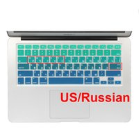 Dustproof,Waterproof Silicone Laptop Keyboard Gradient Color Ukraine Russian Silicone US Keyboard Cover For Macbook Air 13 Macbook Pro 13 15 17 Retina Skin Protector Stickers