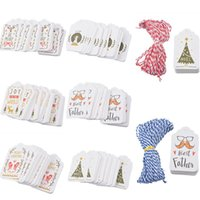 Wholesale hanging gift tags for sale - 50PCs Paper Tags With String DIY Craft Label Luggage Party Favor Christmas Decoration Hanging Ornaments For Home