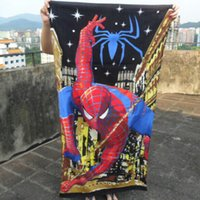 Wholesale Kids Beach Supplies Cartoon - 150*70cm Spider-Man Children Beach Towels Kids Cartoon BathTowel Pure CottonTowel for Children Cool Baby Towels Beach Supply FZE024
