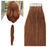 Wholesale Wholesale Brown Tape - Indian human hair 12-26inch PU tape on hair Extensions 2.5g Pieces, Silk straight wave & 4 Colors for choice, free DHL
