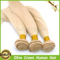 Wholesale White Blonde Hair Extensions 24 - White Blonde Human Hair Weft Peruvian Virgin Hair Weave Boundles Silky Straight 3Pcs Lot Extensions Color #60